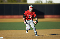 Gardner-Webb Runnin' Bulldogs third baseman Eric Jones (3) on defense against the Wake Forest Demon Deacons at David F. Couch Ballpark on February 18, 2018 in  Winston-Salem, North Carolina. The Demon Deacons defeated the Runnin' Bulldogs 8-4 in game one of a double-header.  (Brian Westerholt/Four Seam Images)