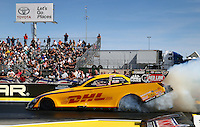 Mar 28, 2014; Las Vegas, NV, USA; NHRA funny car driver Del Worsham during qualifying for the Summitracing.com Nationals at The Strip at Las Vegas Motor Speedway. Mandatory Credit: Mark J. Rebilas-
