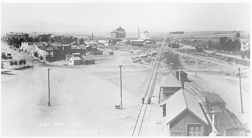 Early view of Monte Vista showing the depot and relationship to the town.   Possibly from D&amp;RG tank.<br /> D&amp;RG  Monte Vista, CO  9/30/1900