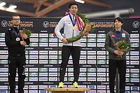 SPEEDSKATING: HAMAR: Vikingskipet, 29-02-2020, ISU World Speed Skating Championships, Sprint, Final Podium, Laurent Dubreuil (CAN), Tatsuya Shinhama (JPN), Min Kyu Cha (KOR), ©photo Martin de Jong