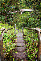 """An aerial view of H-3 freeway w/ steps descending into Haiku valley at dawn from Haiku Stairs (""""Stairway to Heaven"""") hiking trail in Kaneohe, Oahu"""