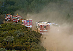 Greeley Hill, California-- July 29, 2008-Telegraph Fire-Wildfires Threaten Yosemite National Park .Fire engines get read to defend Division N.  This fire is out of control and will have to be caught on the next fire break...Photo by Al Golub/Golub Photography.