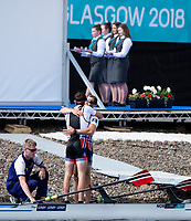 Glasgow, Scotland, Sunday, 5th  August 2018, Final Lightweight Men's Double Sculls, Gold Medalist, NOR LM2X, <br /> Bow, Kristoffer BRUN and Are STRANDLI,  European Games, Rowing, Strathclyde Park, North Lanarkshire, &copy; Peter SPURRIER/Alamy Live News