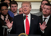 United States President Donald J. Trump, speaks as he welcomes the 2018 Division I FCS National Champions: The North Dakota State Bison in the Diplomatic Room of the White House on March 4, 2019 in Washington, DC. <br /> Credit: Oliver Contreras / Pool via CNP