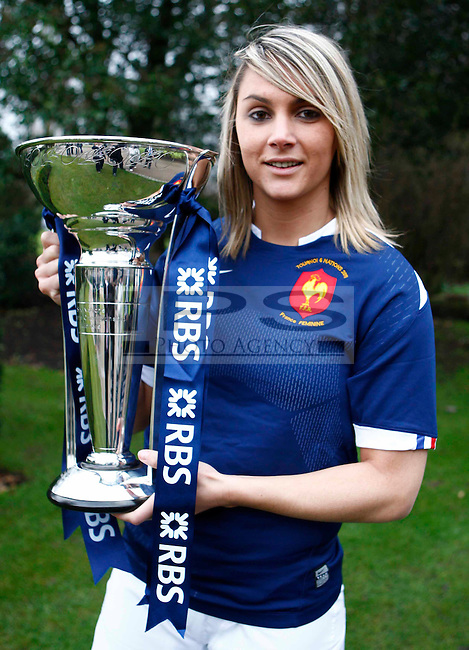 Marie Alice Yahe of France with Trophy.RBS 6 Nations Launch.at Hurlingham Club, London 26/01/2011..Picture by Kieran Galvin -  Copyright:  IPS Photo Agency: 21 Delisle Road  London SE28 0JD - Personal mobile: 07866733258 ...