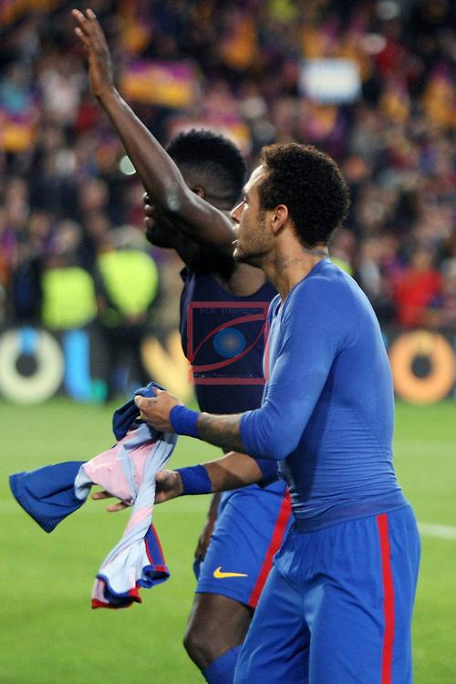 UEFA Champions League 2016/2017.<br /> Round of 16 2nd leg<br /> FC Barcelona vs Paris Saint-Germain: 6-1.<br /> Samuel Umtiti &amp; Neymar.