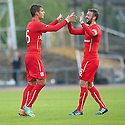 Dundee's Luka Tankulic celebrates with Kevin McBride after he scores their third goal.