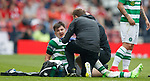 Kieran Tierney gets medical treatment after sustaining a mouth injury