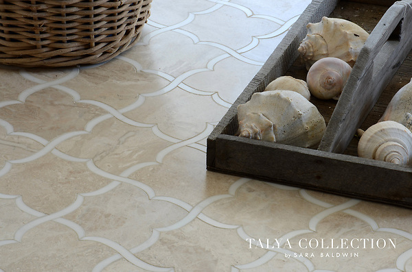 Gaia, a stone waterjet mosaic shown in Diana Royal honed and Snow White polished, is part of the Talya Collection by Sara Baldwin for Marble Systems.