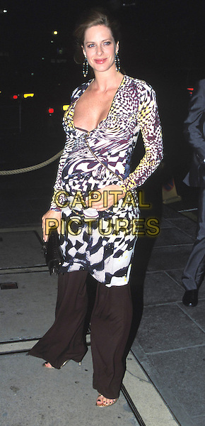 "TRINNY WOODALL.leaving the ""Fashion Rocks"" party at Babylon, Kensington Roof Gardens.pregnant, full length, full-length, black & white geometric print, fashion disaster ?.www.capitalpictures.com.sales@capitalpictures.com.© Capital Pictures."