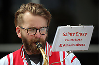 The Saints Brass band perform outside the Stadium during the Premier League match between Southampton and Swansea City at the St Mary's Stadium, Southampton, England, UK. Saturday 12 August 2017