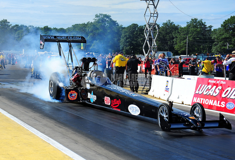 Aug. 19, 2011; Brainerd, MN, USA: NHRA top fuel dragster driver Keith Murt during qualifying for the Lucas Oil Nationals at Brainerd International Raceway. Mandatory Credit: Mark J. Rebilas-