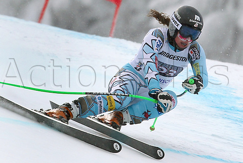 03.02.2012 Garmisch Partenkirchen, Germany.  US Skier Stacy Cook races down the Kandahar downhill run during the second official women's training session of the FIS Alpine Skiing World Cup