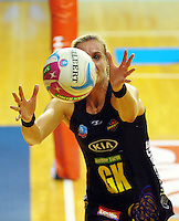 Leana De Bruin chases the ball during the ANZ Netball Championship match between the Central Pulse and Waikato Bay Of Plenty Magic at TSB Bank Arena, Wellington, New Zealand on Monday, 30 March 2015. Photo: Dave Lintott / lintottphoto.co.nz
