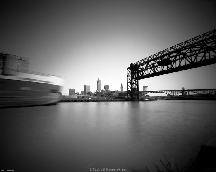 The Robert S. Pierson, a Lake Erie freighter, heads up the Cuyahoga River in Cleveland, Ohio