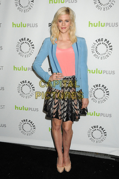 "Georgia King.30th Annual Paley Fest - ""The New Normal"" held at the Saban Theatre, Beverly Hills, California, USA..March 6th, 2013.full length blue blazer hand on hip skirt pink top pattern.CAP/ADM/BP.©Byron Purvis/AdMedia/Capital Pictures."