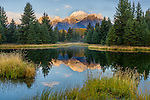 Grand Teton National Park, WY<br /> Teton Range reflecting on a beaver pond near Schwabacher Landing on the Snake River