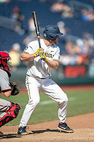 Michigan Wolverines outfielder Miles Lewis (3) at bat during Game 11 of the NCAA College World Series against the Texas Tech Red Raiders on June 21, 2019 at TD Ameritrade Park in Omaha, Nebraska. Michigan defeated Texas Tech 15-3 and is headed to the CWS Finals. (Andrew Woolley/Four Seam Images)