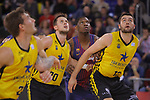 League ACB-ENDESA 2017/2018 - Game: 11.<br /> FC Barcelona Lassa vs Iberostar Tenerife: 91-93.<br /> Mateusz Ponitka, Kevin Seraphin &amp; Mike Tobey.