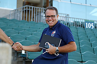 Cary, North Carolina  - Saturday August 05, 2017: Courage broadcaster Dean Linke prior to a regular season National Women's Soccer League (NWSL) match between the North Carolina Courage and the Seattle Reign FC at Sahlen's Stadium at WakeMed Soccer Park. The Courage won the game 1-0.