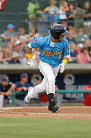 Myrtle Beach Pelicans outfielder D.J. Wilson (4) at bat during a game against the Potomac Nationals at Ticketreturn.com Field at Pelicans Ballpark on July 1, 2018 in Myrtle Beach, South Carolina. Myrtle Beach defeated Potomac 6-1. (Robert Gurganus/Four Seam Images)