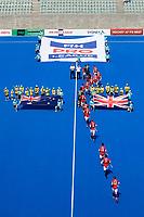 2nd February 2020; Sydney Olympic Park, Sydney, New South Wales, Australia; International FIH Field Hockey, Australia versus Great Britain; Great Britain take to the field