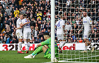 Leeds United players celebrate victory at the end of the match<br /> <br /> Photographer Andrew Kearns/CameraSport<br /> <br /> The EFL Sky Bet Championship - Leeds United v Bolton Wanderers - Saturday 23rd February 2019 - Elland Road - Leeds<br /> <br /> World Copyright © 2019 CameraSport. All rights reserved. 43 Linden Ave. Countesthorpe. Leicester. England. LE8 5PG - Tel: +44 (0) 116 277 4147 - admin@camerasport.com - www.camerasport.com