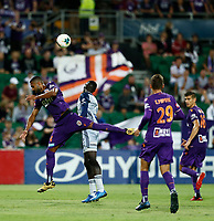 1st February 2020; HBF Park, Perth, Western Australia, Australia; A League Football, Perth Glory versus Melbourne Victory; Gregory Wuthrich of the Perth Glory wins the header against Kenny Athiu of Melbourne Victory