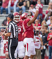 Hawgs Illustrated/BEN GOFF <br /> Devwah Whaley, Arkansas wide receiver, celebrates after scoring a touchdown in the first quarter against Coastal Carolina Saturday, Nov. 4, 2017, at Reynolds Razorback Stadium in Fayetteville.