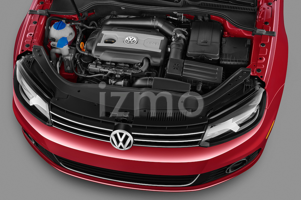 High angle engine detail of a 2012 Volkswagen EOS Komfort .