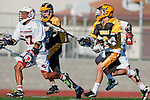Palos Verdes, CA 03/31/10 - Augie O'Hern (PV # 10), \PJ2\ and two unknown Peninsula players in action during the Peninsula-Palos Verdes Junior Varsity Lacrosse game at Palos Verdes High School.  Palos Verdes defeated Peninsula.