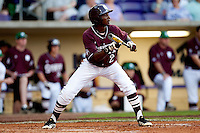 Mississippi State outfielder Demarcus Henderson #2 prepares to lay down a bunt against the LSU Tigers during the NCAA baseball game on March 17, 2012 at Alex Box Stadium in Baton Rouge, Louisiana. The 10th-ranked LSU Tigers beat #21 Mississippi State, 4-3. (Andrew Woolley / Four Seam Images).