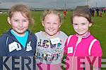 UNDER10S: Sarah Kearney, Daithbe Ó Fuárain and Gemma Guerin who took part in the under 10s relay race at Ballyheigue Community Games at Ballyheigue GAA Grounds.