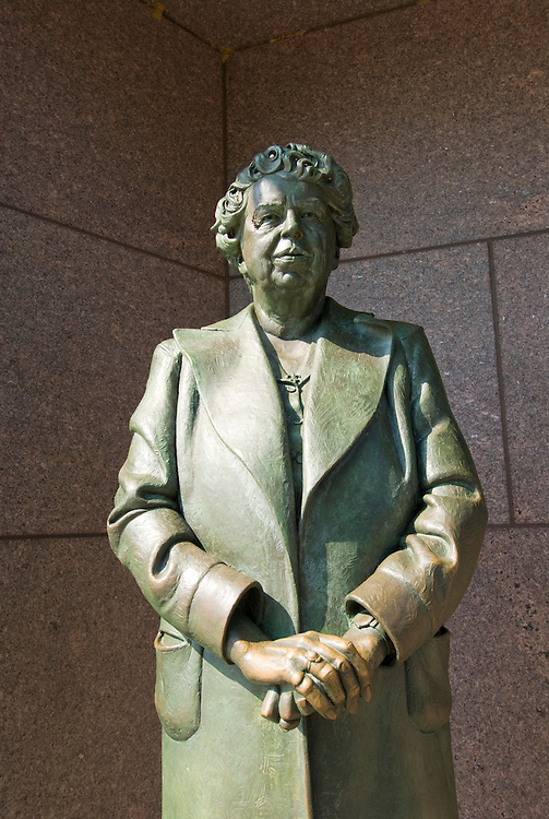Washington DC; USA: The Franklin Delano Roosevelt Memorial. Sculpture of Eleanor Roosevelt, wife of the President.  .Photo copyright Lee Foster Photo # 14-washdc83260