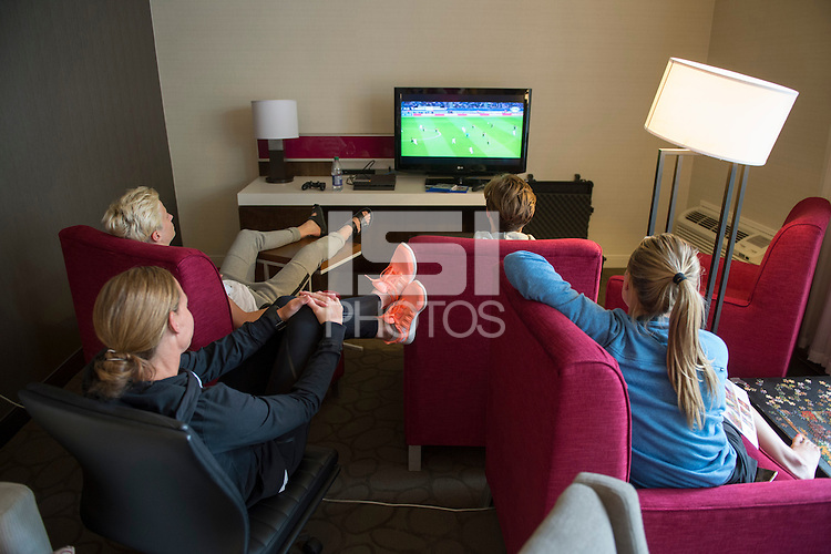 Winnipeg, Canada- June 6, 2015:  USWNT players watch the Champions League final at their hotel.