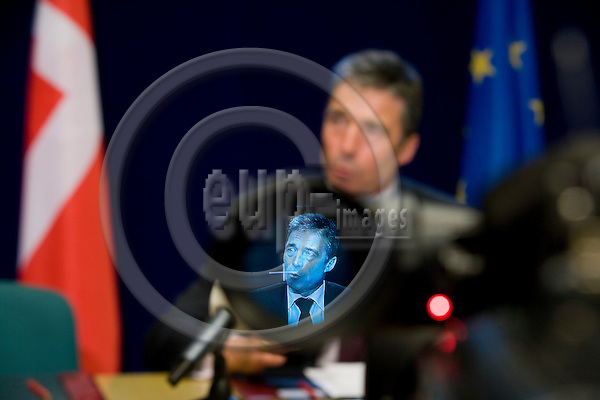 BRUSSELS - BELGIUM - 01 MARCH 2009 --  The Danish Prime Minister Anders Fogh RASMUSSEN after the Emergency meeting on the financial crisis held for European Union leaders where he gave a national press conference. Here seen in the viewer of a TV camera.  Photo: Erik Luntang/EUP-IMAGES