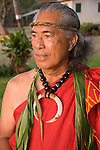 Hawaii: Molokai, elder at protocol spiritual ceremonies at Kaupoa Beach..Photo himolo208-71991..Photo copyright Lee Foster, www.fostertravel.com, lee@fostertravel.com, 510-549-2202