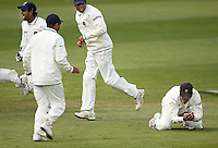 India's Rahul Dravid (right) takes his world record 182nd career catch, overtaking Australia's Mark Waugh during day four of the 3rd test between the New Zealand Black Caps and India at Allied Prime Basin Reserve, Wellington, New Zealand on Monday, 6 April 2009. Photo: Dave Lintott / lintottphoto.co.nz.