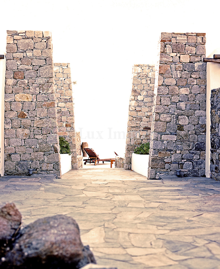 traditional courtyard with stone floor