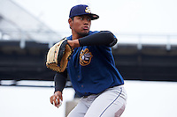 Burlington Bees pitcher Jaime Barria (18) during a bullpen session before a game against the Quad Cities River Bandits on May 9, 2016 at Modern Woodmen Park in Davenport, Iowa.  Quad Cities defeated Burlington 12-4.  (Mike Janes/Four Seam Images)