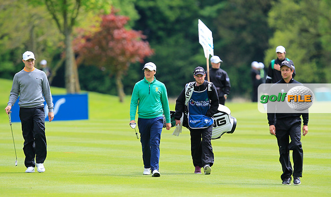 Colm Campbell Jnr. (AM-IRL) walking up the 16th with Oliver Fisher (ENG) and Sebastien Gros (FRA) during Round 1 of the Dubai Duty Free Irish Open presented  by the Rory Foundation at The K Club, Straffan, Co. Kildare<br /> Picture: Golffile | Thos Caffrey<br /> <br /> All photo usage must carry mandatory copyright credit <br /> (&copy; Golffile | Thos Caffrey)