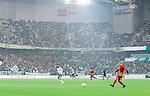 Stockholm 2014-09-21 Fotboll Superettan Hammarby IF - Syrianska FC :  <br /> Vy &ouml;ver Tele2 Arena med publik p&aring; l&auml;ktarna under matchen mellan Hammarby och Syrianska som spelades i regnv&auml;der<br /> (Foto: Kenta J&ouml;nsson) Nyckelord:  Superettan Tele2 Arena Hammarby HIF Bajen Syrianska FC SFC supporter fans publik supporters inomhus interi&ouml;r interior regn regnar regnv&auml;der v&auml;der