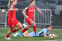 Piscataway, NJ - Saturday June 3, 2017: Lindsey Horan, Meghan Klingenberg, Kelley O'Hara during a regular season National Women's Soccer League (NWSL) match between Sky Blue FC and the Portland Thorns at Yurcak Field.  Portland defeated Sky Blue, 2-0.