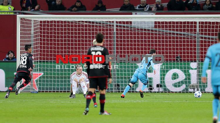 Championsleague , Bayer 04 Leverkusen vs. FC Barcelona<br /> Lionel Andr&radic;&copy;s Messi (Barcelona) erzielt das 1:0<br /> <br /> Foto &not;&copy; nordphoto /  Bratic *** Local Caption ***