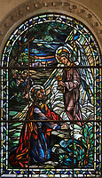 Stained glass window, 1523-41, of the Agony in the Garden, depicting Jesus in the Garden of Olives with sleeping disciples and an angel holding a chalice, in the Catedral Nuestra Senora de la Encarnacion, or the Basilica Cathedral of Santa Maria la Menor, dedicated to St Mary of the Incarnation, built 1514-35 in Renaissance and Gothic style, in the Colonial Zone of Santo Domingo, capital of the Dominican Republic, in the Caribbean. The building is also known as the Catedral Primada de America as it is the oldest cathedral in the Americas. Santo Domingo's Colonial Zone is listed as a UNESCO World Heritage Site. Picture by Manuel Cohen