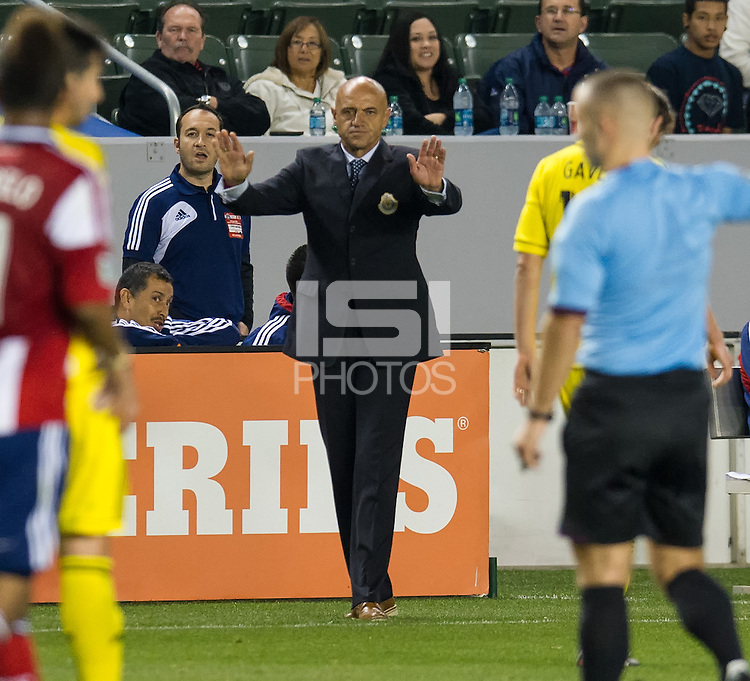CARSON, CA - March 2, 2013: Chivas head coach Jose Luis Sanchez Sola during the Chivas USA vs Columbus Crew match at the Home Depot Center in Carson, California. Final score, Chivas USA 0, Columbus Crew 3.