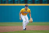 UNCG Spartans third baseman Caleb Webster (1) on defense against the San Diego State Aztecs at Springs Brooks Stadium on February 16, 2020 in Conway, South Carolina. The Spartans defeated the Aztecs 11-4.  (Brian Westerholt/Four Seam Images)
