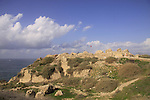 Israel, Sharon region, ruins of the Crusader fortress Arsur at Apollonia National Park