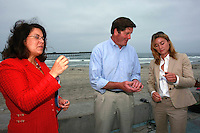 California Assembly Member Lori Saldaña, Lieutenant Governor John Garamendi and Angela Howe of Surfrider look at samples of plastic pellets that are a common form of marine debris  found in California waters, Ocean Beach, July 25, 2008.  The three were in Ocean Beach to speak about a new report on California Marine Debris and laws to clean-up and protect California?s beaches, marine life and ocean from trash.