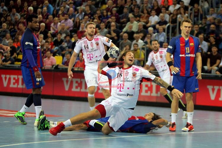 VELUX EHF <br /> 2016/17 EHF Men's Champions League Group Phase - Round 5.<br /> FC Barcelona Lassa vs Telekom Veszprem: 26-23.<br /> Andreas Nilsson vs Viran Morros.